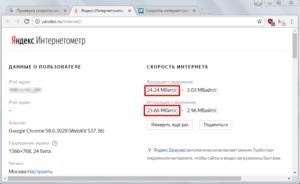 Интернетометр от Яндекса