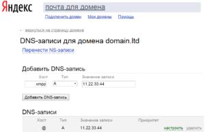 Настройка DNS-записей для домена